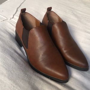 brown leather women's loafers/heeled mule